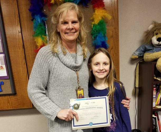 Addison Singleton with her 4th grade teacher Mrs. Lira