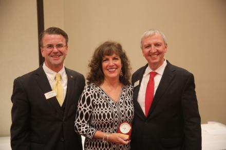 Mrs. Erin Neufelder honored by School Board Pres. Chris Riley & Supt. Dr. Jerry Thacker